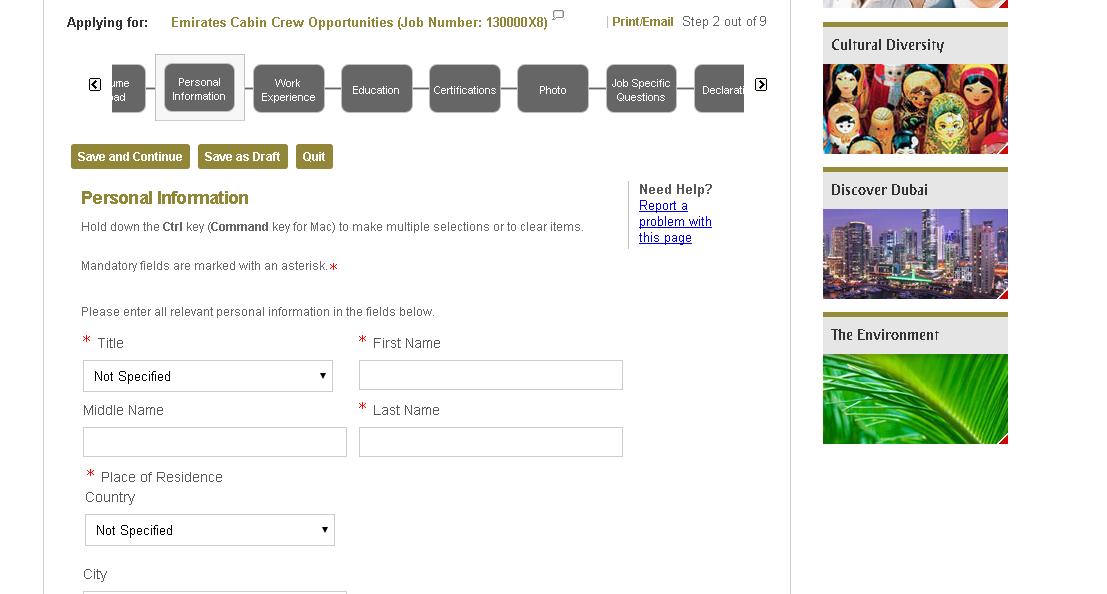 cum completezi aplicatia online de la emirates airlines